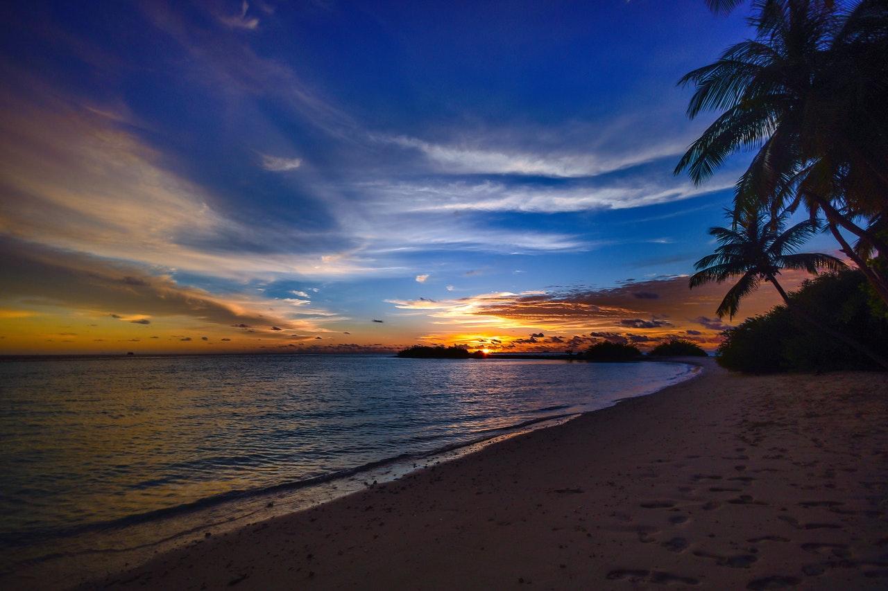 senset at the beach