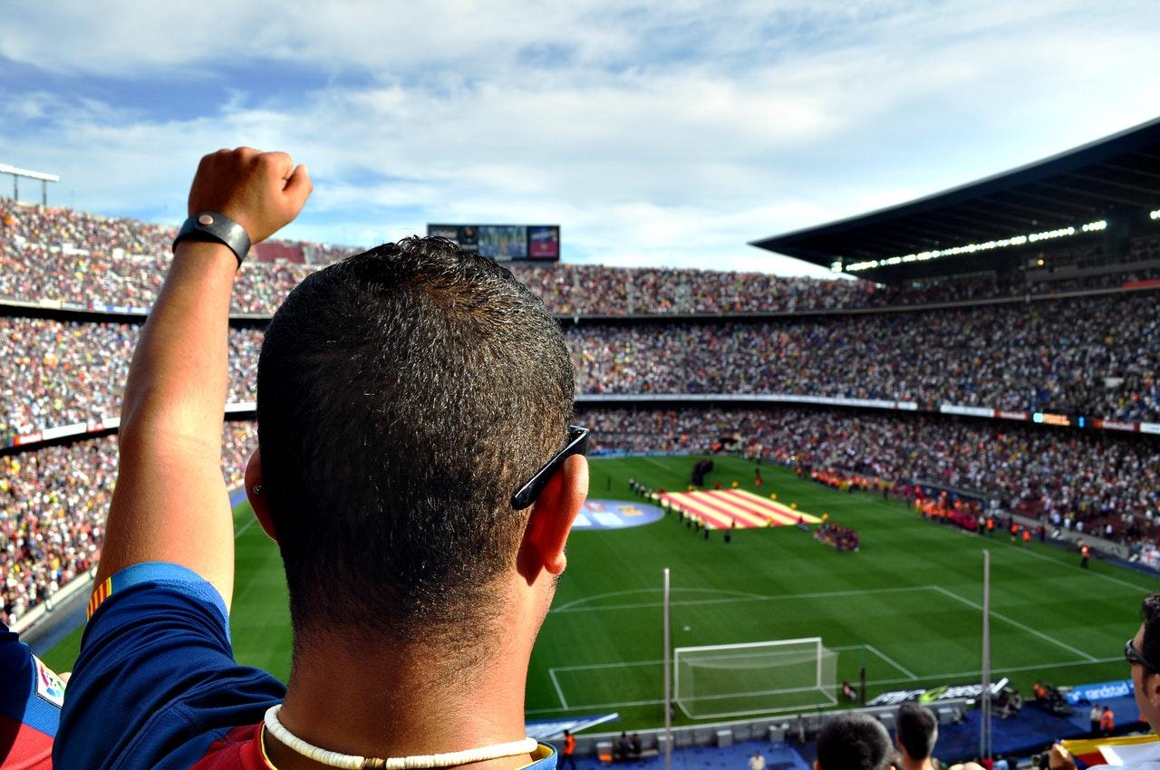 a man watching football